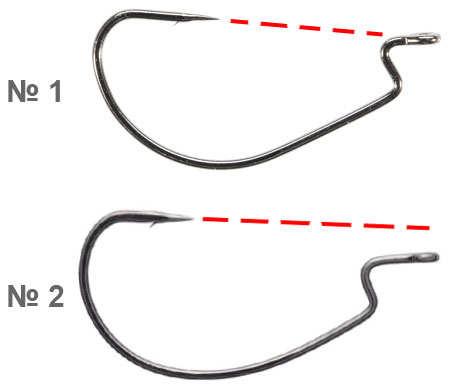 Офсетные крючки: 1 – под черви, 2 – под виброхвосты
